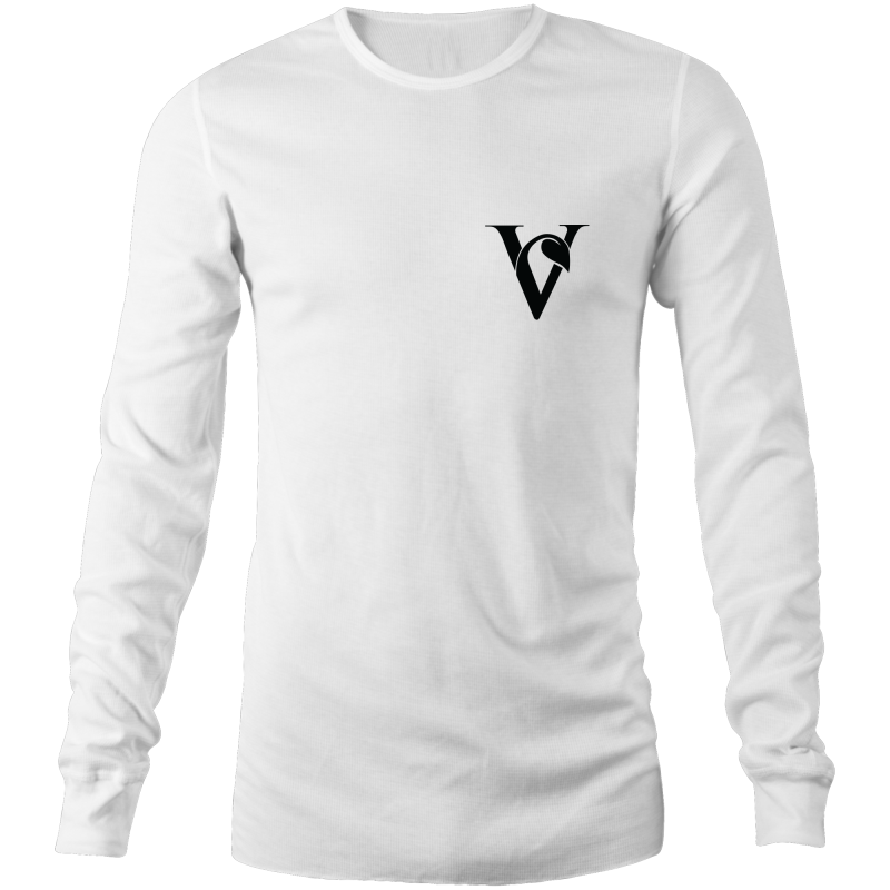 Chest Print Vegan 'V'  Long Sleeve Shirt - White