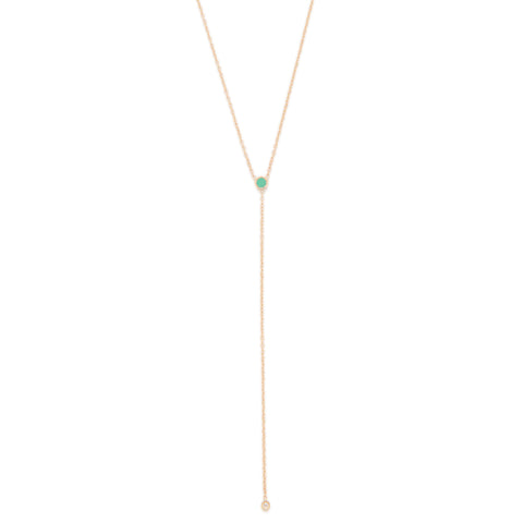 May Birthstone Emerald Lariat Necklace