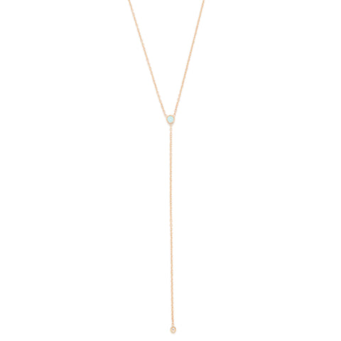 October Birthstone Opal Lariat Necklace