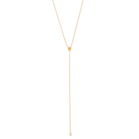 November Birthstone Citrine Lariat Necklace