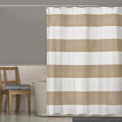 TMH Contrast Stripes Design One Piece Washroom Curtain Curtain MB Traders Mud