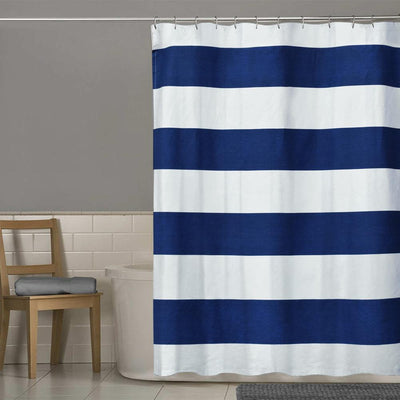 TMH Contrast Stripes Design One Piece Washroom Curtain Curtain MB Traders Navy