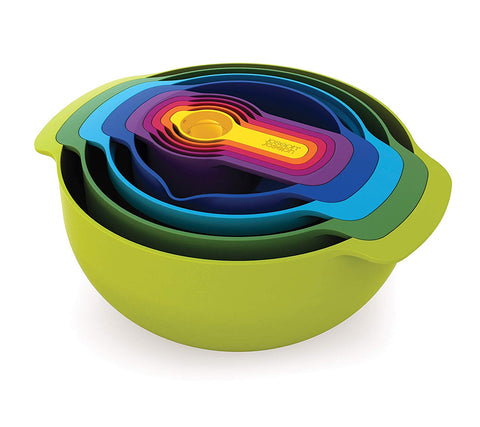 Joseph Joseph 40087 Nest 9 Nesting Bowls Set with Mixing Bowls Measuring Cups Sieve Colander, 9-Piece, Multicolored