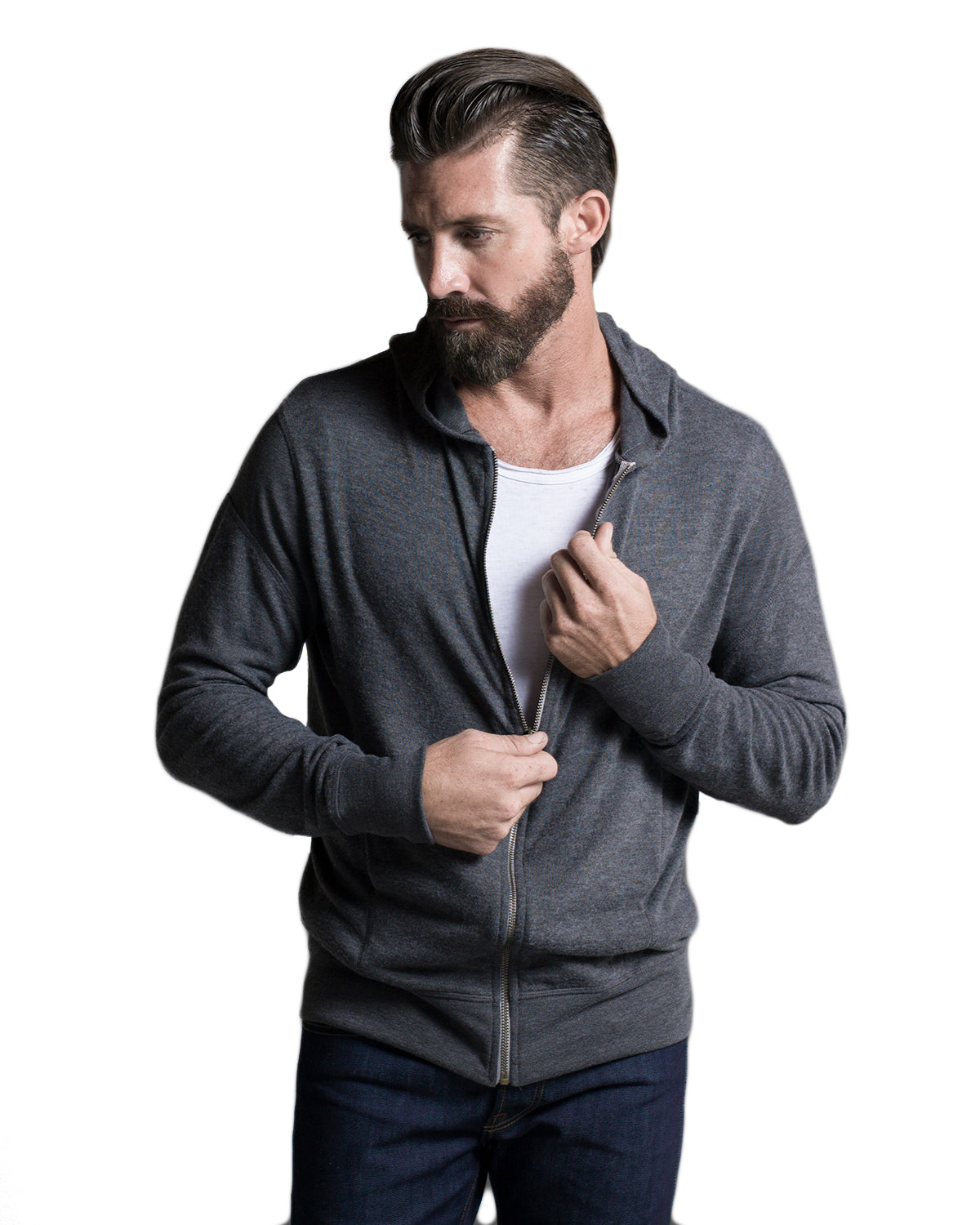 Knit Hoodie: Charcoal Gray