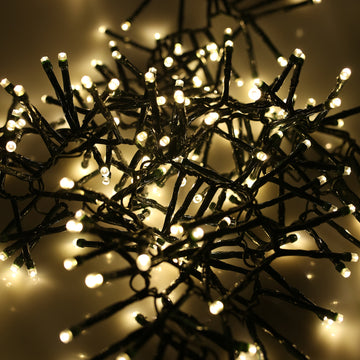 280, 360, 480, 720, 960, 2000 Multifunction LED Christmas Cluster Lights with Timer and Green Cable - Warm White