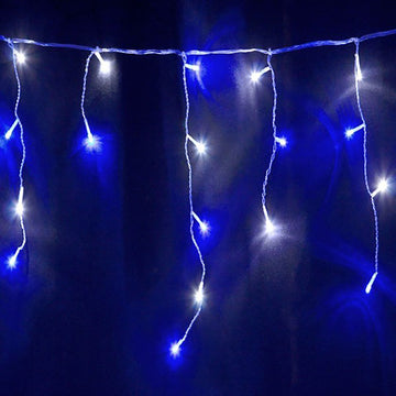 144, 240, 360, 480, 720, 960 LED Snowing Icicles Lights with White Cable, Timer and Speed Setting- White/Ice Blue