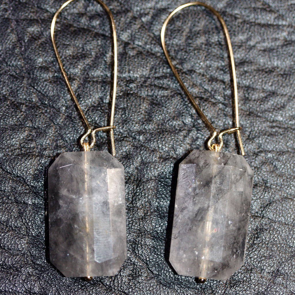 Day 22 Faceted Grey Quartz Earrings  - 14ct gold filled hooks