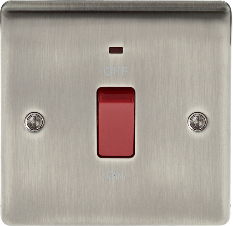 BG NBI74 Metal Brushed Iridium 45A Cooker Switch c/w Neon