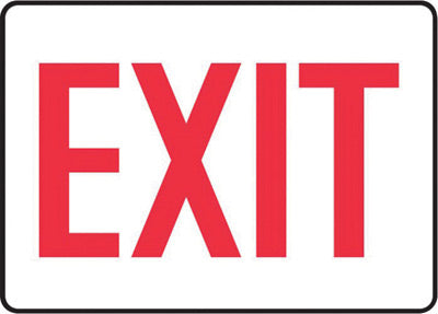 "Accuform Signs® 7"" X 10"" Red And White 0.040"" Aluminum Admittance And Exit Sign ""EXIT"" With Round Corner"
