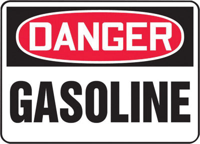 "Accuform Signs® 10"" X 14"" Black, Red And White 4 mils Adhesive Vinyl Chemicals And Hazardous Materials Sign ""DANGER GASOLINE"""