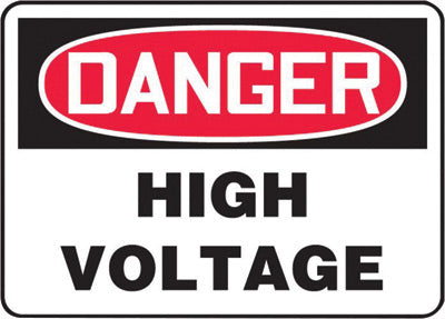 "Accuform Signs® 7"" X 10"" Black, Red And White 0.055"" Plastic Electrical Sign ""DANGER HIGH VOLTAGE"" With 3/16"" Mounting Hole And Round Corner"