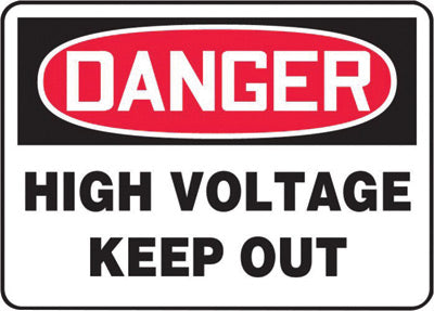 "Accuform Signs® 10"" X 14"" Black, Red And White 0.040"" Aluminum Electrical Sign ""DANGER HIGH VOLTAGE KEEP OUT"" With Round Corner"