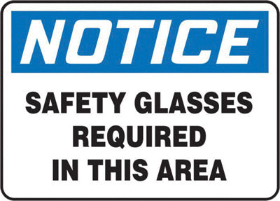 "Accuform Signs® 7"" X 10"" Black, Blue And White 0.055"" Plastic PPE Sign ""NOTICE SAFETY GLASSES REQUIRED IN THIS AREA"" With 3/16"" Mounting Hole And Round Corner"