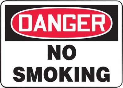 "Accuform Signs® 7"" X 10"" Black, Red And White 0.055"" Plastic Smoking Control Sign ""DANGER NO SMOKING"" With 3/16"" Mounting Hole And Round Corner"