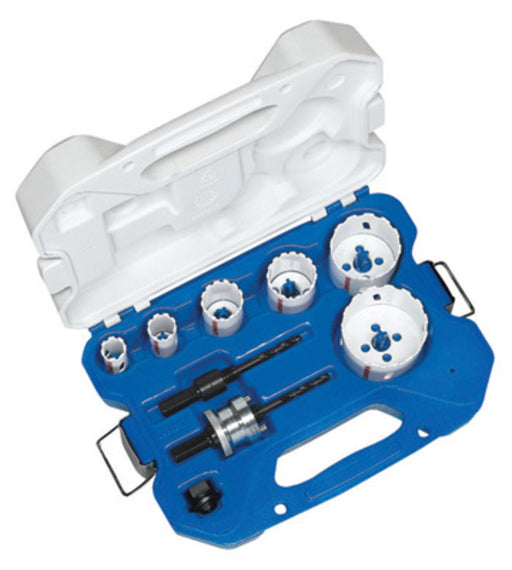 "Lenox® Master Grit® 9 Piece Plumber's Hole Saw Kit (Kit Contents: 3/4"", 7/8"", 1 1/8"", 1 1/2"", 2 1/8"", 2 9/16"" Saws, 1/2"" Shank 1L Standard And 1/2"" Shank 2L Snap-Back™ Arbor And (1) Arbor Adapter), Package Size: 10 Each"