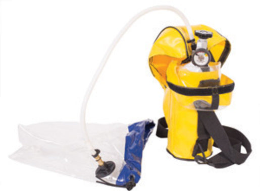North® by Honeywell 3000 psi ER5000 High Flow Escape Breathing Apparatus With 5 Minute 3AL Cylinder, Carry Pouch, Refillable Cylinder, Valve And Pressure Gauge Assembly, Breathing Tube, Protective Air Hood, And Regulator