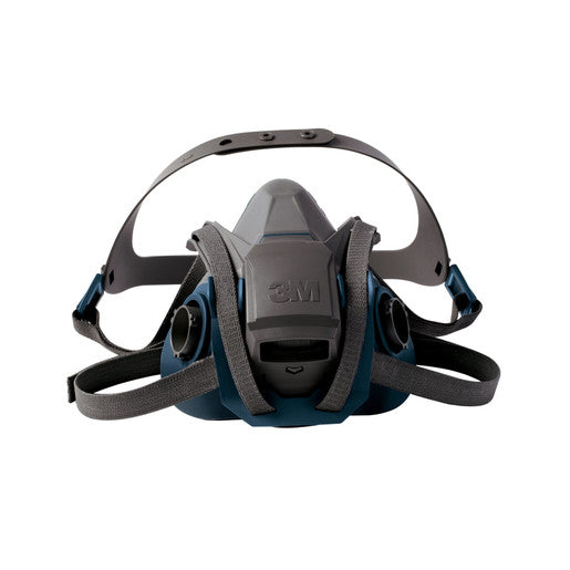 3M'Ñ¢ Large Gray And Teal Silicone And Nylon 6500 Series Half Facepiece Rugged Comfort Reusable Respirator With 4 Point Quick Latch Harness And Bayonet Connection