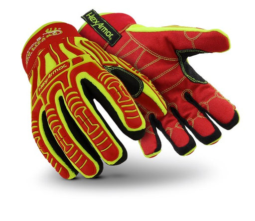HexArmor® 2X Hi-Viz Yellow, Red And Black Rig Lizard Arctic® PVC, Polyester, Cotton And Nylon Cut Resistant Gloves With SlipFit® Cuff, H2X™ And C40 Thinsulate™ Liner And Red TP-X® Coating On Palm And Fingers