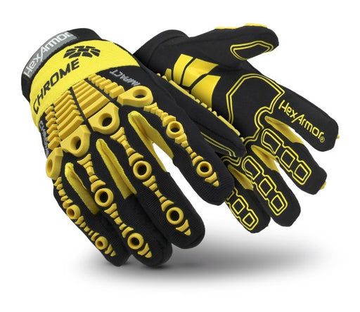 HexArmor® Size 9 Black And Yellow Chrome Series® Clute Cut SuperFabric® And Leather Reusable 360° Cut Resistant Gloves With Elastic Cuff, SuperFabric® Lined And PVC Printed Synthetic Leather Palm