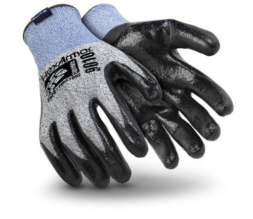 HexArmor® 2X Gray, Blue And Black 9000 Series™ Polyethylene And Fiberglass Cut Resistant Gloves With Knit Wrist And Black Nitrile Coating On Palm And Fingers