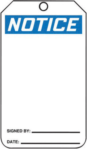 "Accuform Signs® 5 3/4"" X 3 1/4"" Black, Blue And White HS-Laminate Accident Prevention Blank Tag ""NOTICE"" With Pull-Proof Metal Grommeted 3/8"" Reinforced Hole And OSHA Header (25 Per Pack)"