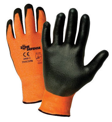 West Chester Small Zone Defense™ Cut And Abrasion Resistant Orange HPPE Black Polyurethane Dipped Palm Coated Work Gloves With Orange High Performance Polyethylene Liner And Elastic Knit Wrist