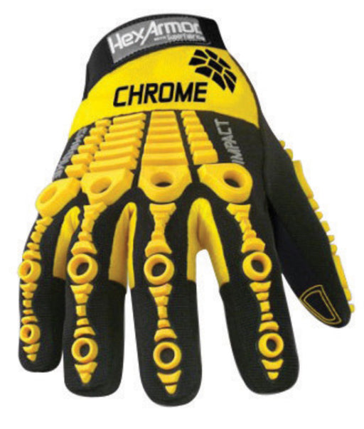 HexArmor¨ Size 7 Black And Yellow Chrome Series¨ Clute Cut SuperFabric¨ And Leather Reusable 360¡ Cut Resistant Gloves With Elastic Cuff, SuperFabric¨ Lined And PVC Printed Synthetic Leather Palm