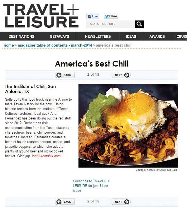 Travel Leisure Magazine Americas Best Chili Chamoy CIty LImits Chili Queens San Antonio, Texas Food Truck