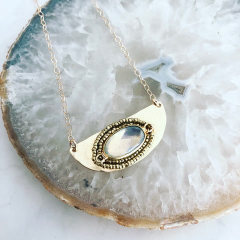 Opalite Crescent Necklace