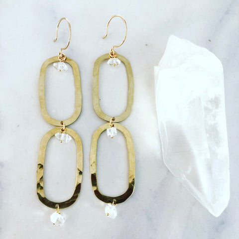 Double Herkimer Loop Earrings