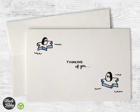 Drifting Penguins - Thinking of You Cards