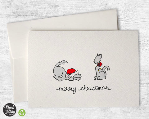 Festive Dog & Cat - Merry Christmas Cards