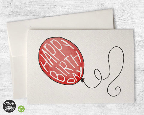 Happy Birthday Balloon in Red - Birthday Cards