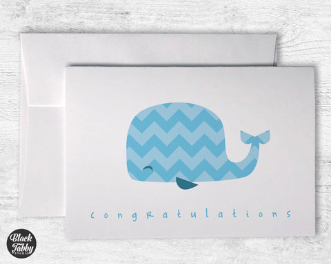 Blue Chevron Whale - Congrats Cards