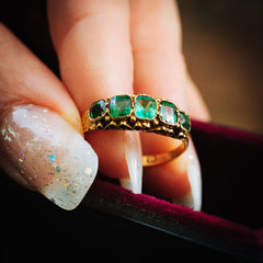 Verdant Hues Date 1876 15ct Gold Green Paste Ring