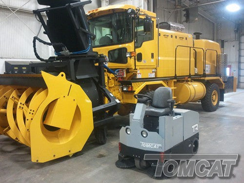 Tomcat's Sweepers are built to sweep factories: dirt, dust, metal shavings, foundry sand, bolts, paper, wood, whatever there is. Tomcat's are compact, not light-duty.