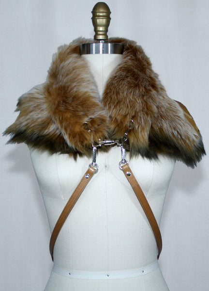 Tan Toscana Fur Scarf with Leather Strap