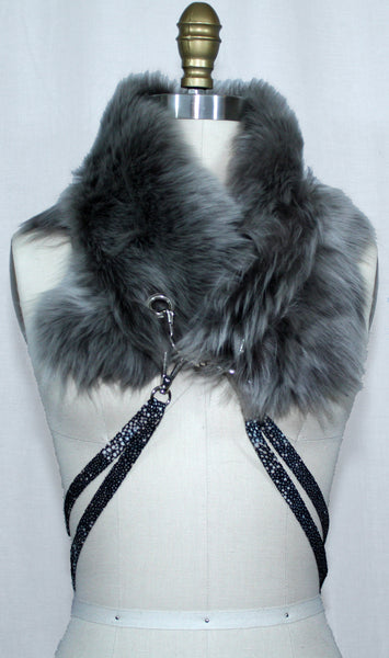 Grey Toscana Fur Scarf with Leather Strap