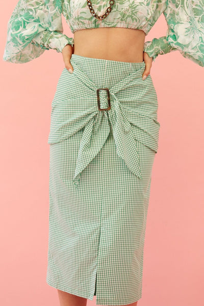 RS1920 Green Gingham Buckle Skirt