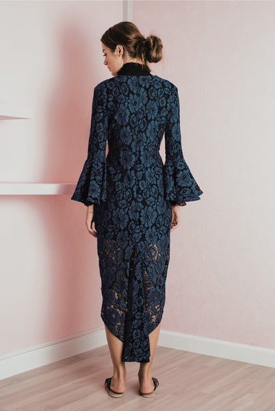 Bell Sleeve Lace Plunge Dress - Deep Blue