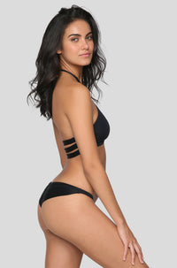 Samba Ruched Bikini Bottom in Eco Black