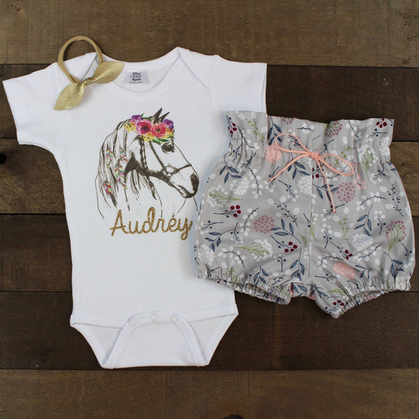 Custom Flower Horse Gray Bloomer Outfit