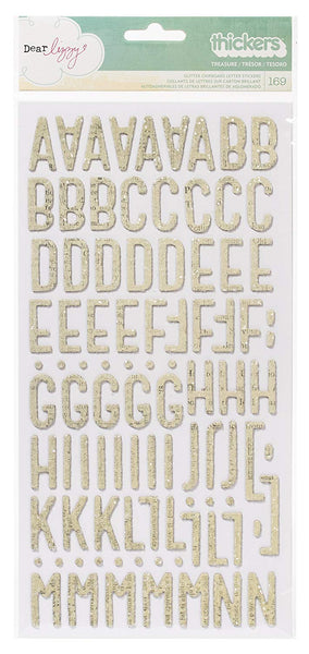 American Crafts 42385 Dear Lizzy Thickers Chipboard Glitter Vanilla Spray Treasure Stickers