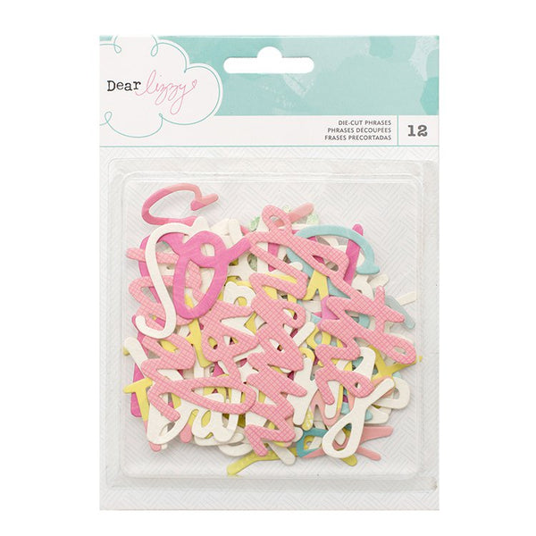 American Crafts - Happy Place Collection - Die Cut Cardstock Pieces - Phrases