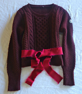 AUTHENTIC MONCLER BERRY WINE KNIT RIBBON BELT SWEATER  (APRES-SKI CHIC!) ~ S