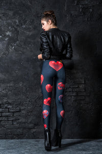 Sick Hearted Leggings Leggings >> BADINKA