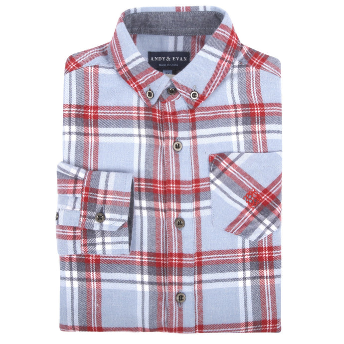 Light Blue Plaid Flannel Shirt - Andy & Evan