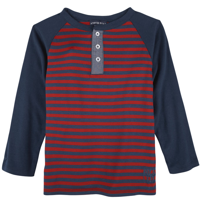 Red/Navy Stripe Henley - Andy & Evan