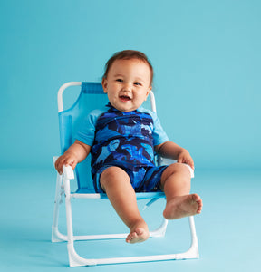 UPF 50 Blue Swim Romper (Recommended by the Skin Cancer Foundation) - Andy & Evan