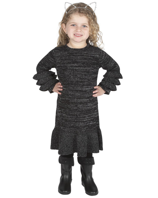 Black/Silver Ruffle Knit Dress - Andy & Evan